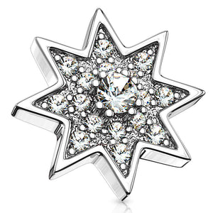 14G Micro CZ Paved Starburst w/CZ Center 316L Surgical Steel Internally Threaded Dermal Anchor Top - FIFTHCUE.COM