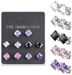 Fifth Cue 5 Pairs of Mixed Colors Prong Set Square CZ Stainless Steel Stud Earrings Pack (5mm CZ - Large)