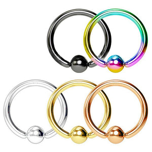 5pc PVD Over 316L Surgical Steel Captive Bead Rings Value Pack