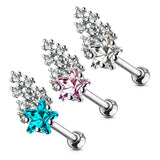 16G CZ Clustered Shooting Star Top 316L Surgical Steel Cartilage/Tragus Barbell - FIFTHCUE.COM