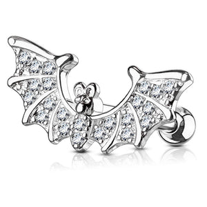 16G CZ Paved Bat Wings Top 316L Surgical Steel Cartilage/Tragus Barbell - FIFTHCUE.COM
