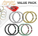 "Fifth Cue 4 Pairs 316L Surgical Steel Hoop Cut Rings Value Pack (16G | 5/16"" (8mm))"