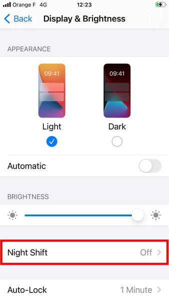 How to turn off blue light on iphone with night shift step 3