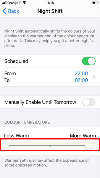 How to turn off blue light on iphone with night shift step 5
