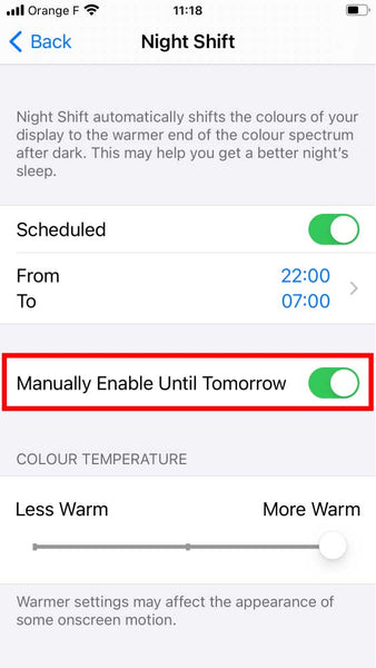 How to turn off blue light on iphone with night shift step 4