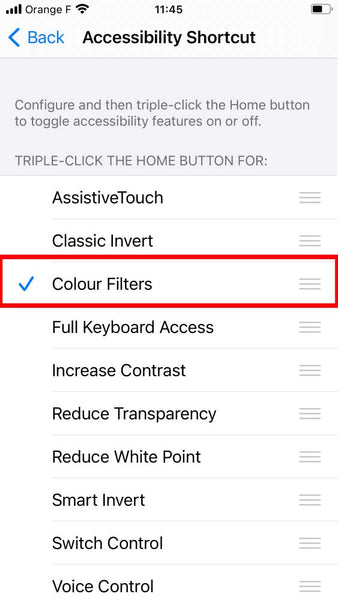 Red color filter for iphone triple-click home button shortcut step 4