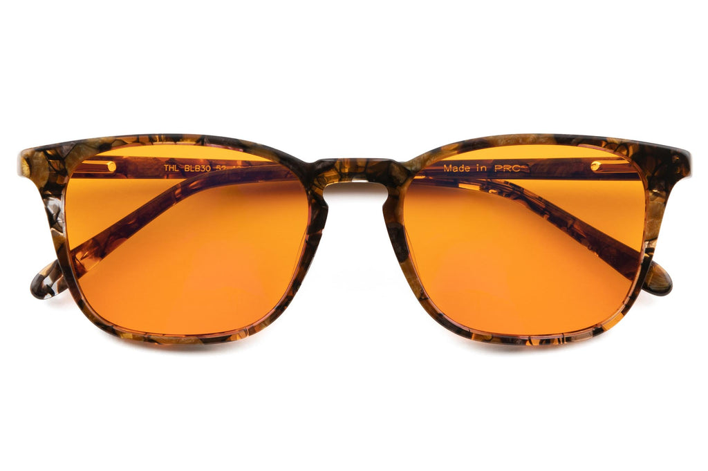 Blue Light Blocking Glasses for Better Sleep Square Wide Large Honey Tortoise Acetate - THL Sleep