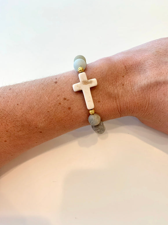 Matte Clouds of Gold Cross Bracelet (1 Bracelet)