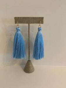 Blue Gameday Tassel Earrings