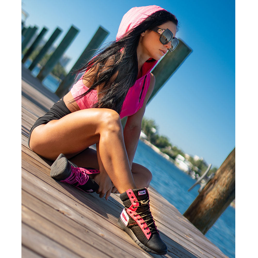 Anita Herbert working out in her signature Fit Queen Tactical Trainer gym sneakers