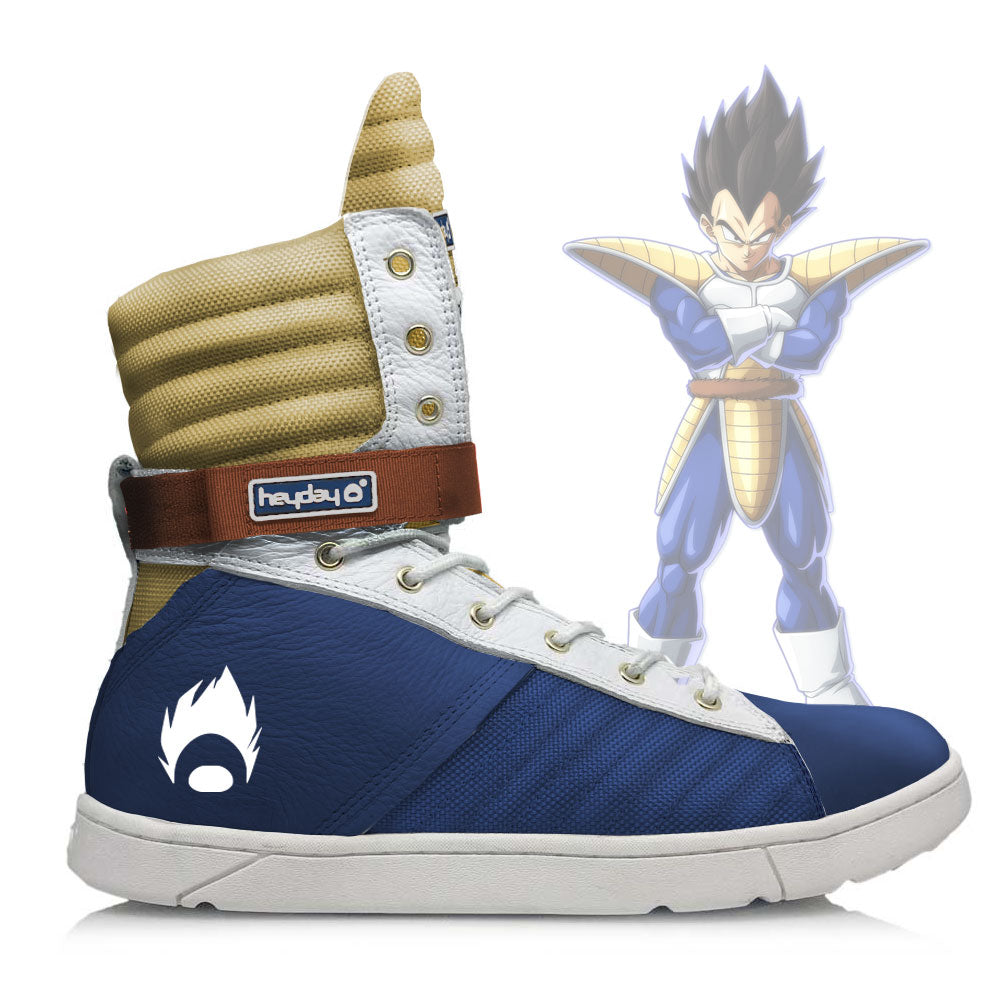 DBZ Vegeta Inspired Navy/Gold Tactical Trainer Hightop Sneaker for Bodybuilding