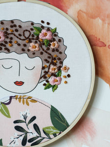 DIY Embroidery Kit, Anne in Mauve