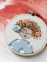 Load image into Gallery viewer, Embroidered Art Lady in Blue