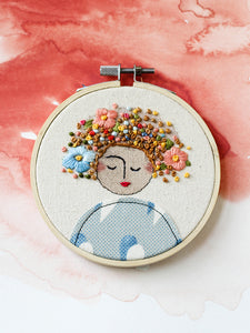 Embroidered Art Lady in Blue