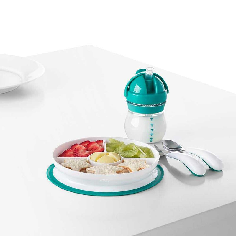 OXO TOT Stick & Stay Suction Divided Plate - Teal