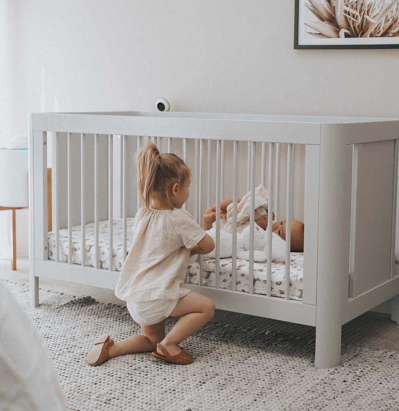 Troll Sun Cot - Whitewash and Mattress Package