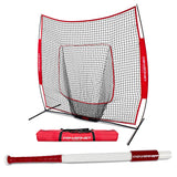 PowerNet Baseball Softball 7x7 Practice Net + Sweet Spot Bat Bundle