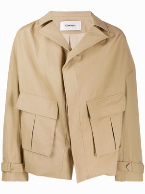 Collarless Pulled Back Blouson
