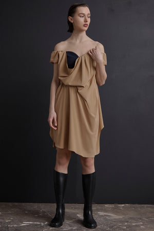 Open Neck Tuck Dress