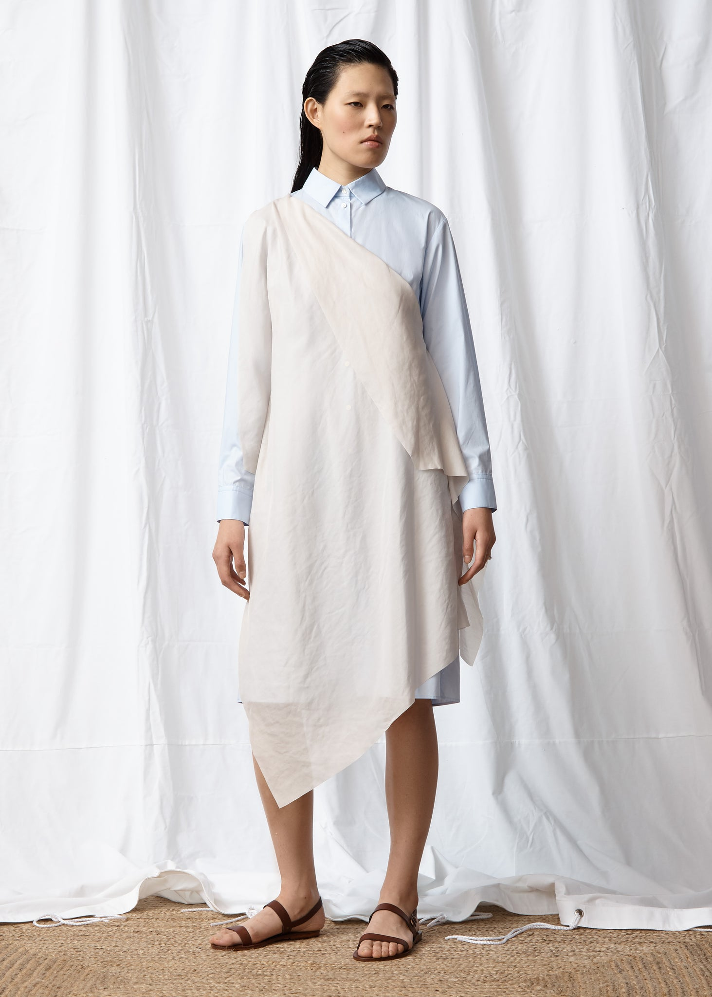 Drape Mask Shirt Dress