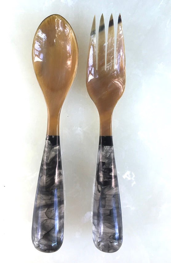 Grand Slam Salad Servers Set of 2 - Black/Tan