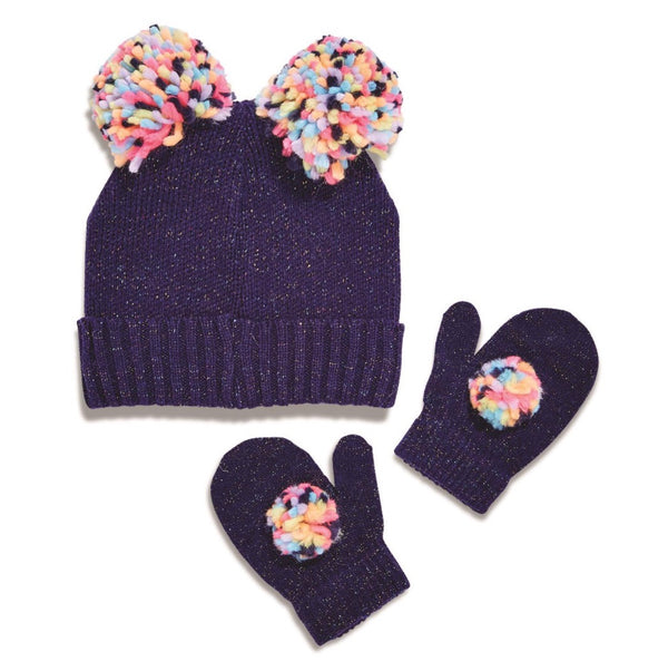 Pom Pom Hat and Mitten Set
