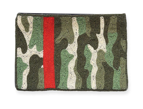 Green Camo Beaded Clutch