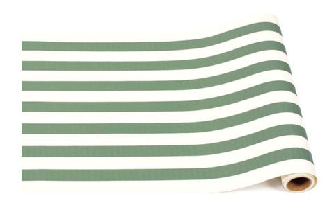Dark Green Classic Stripe Table Runner