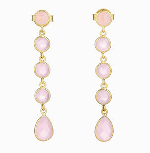 Rose Quartz Five Drop Earrings