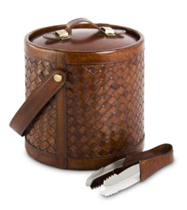 Basket Weave Leather Ice Bucket