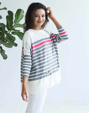 Catalina Crewneck Sweater in Striped Gray and Pink