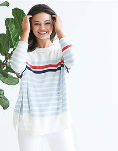 Catalina Crewneck Sweater in Striped Sky, Navy and Red