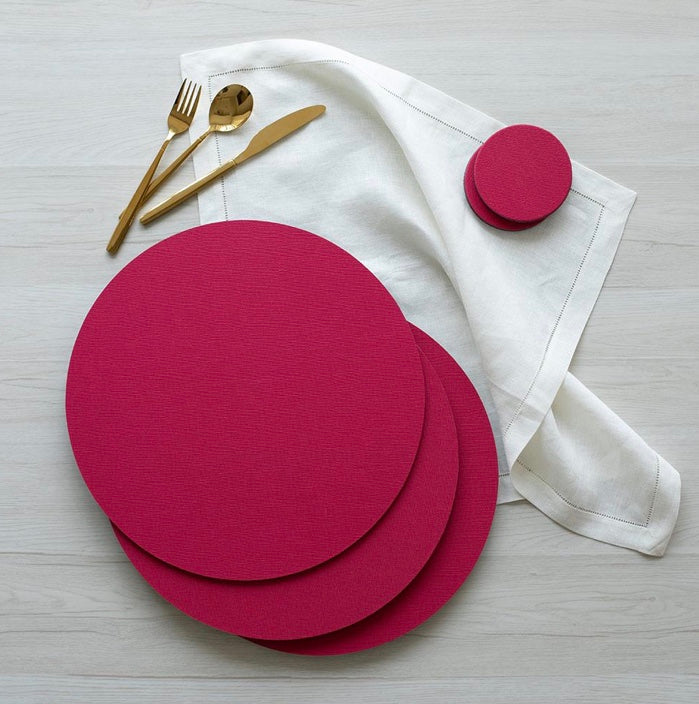 Canvas Round Fuchsia Placemats
