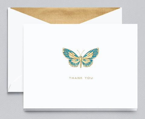 Engraved Butterfly Thank You Note
