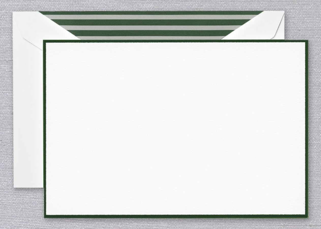 Hunter Green Border Pearl White Notes