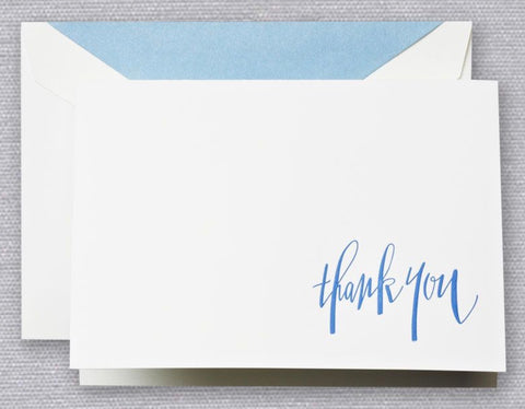 Engraved Newport Blue Thank You Note