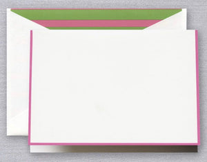 Raspberry Bordered Note with Pink and Green Stripe Lining
