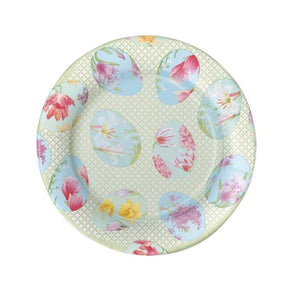 Floral Decorated Eggs Paper Dessert Plates