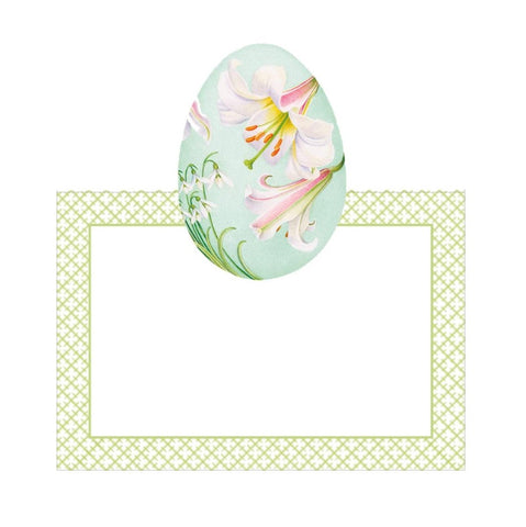 Floral Decorated Eggs Die-Cut Place Cards