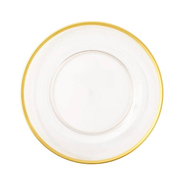 Acrylic Plate Charger in Clear with Gold Rim