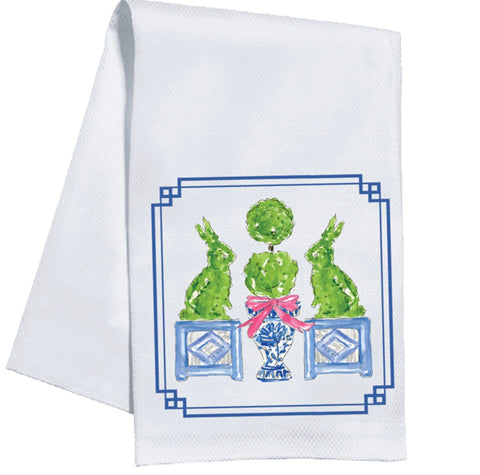 Bunny Topiaries Kitchen Towel