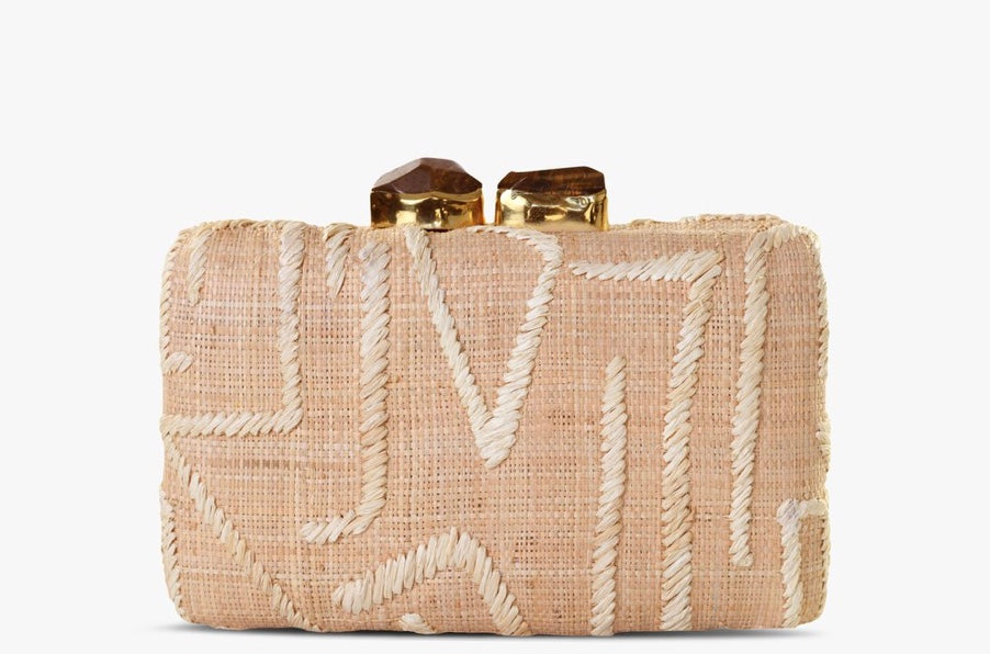 Zara Embroidered Raffia Clutch in Natural
