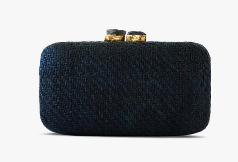 Anna Straw Clutch in Black