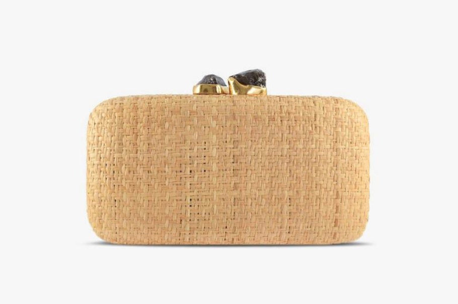 Anna Straw Clutch in Natural