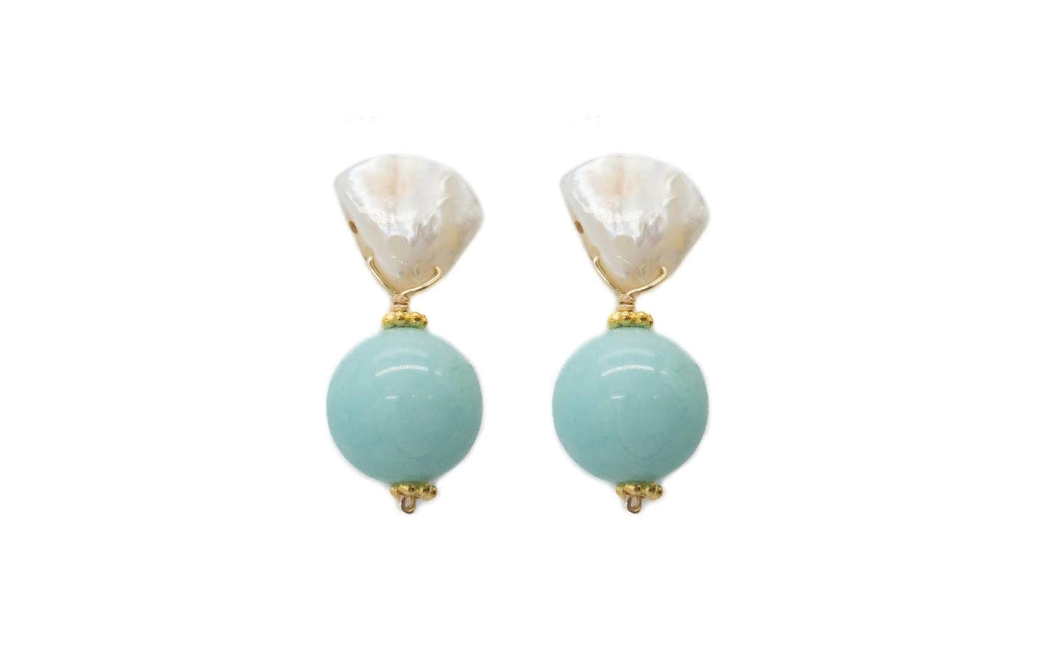 Claire Earrings in Sea Foam Blue Jade