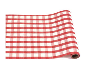 Red Checked Paper Table Runner