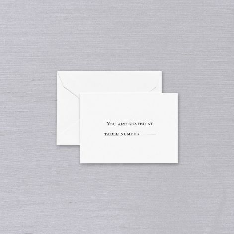 Pearl White Block Text Table Card