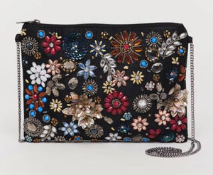 Mangala Beaded Black Clutch
