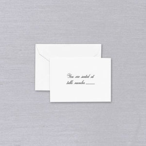 Pearl White Script Text Table Card