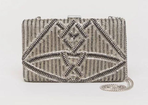 Viti Silver Beaded Clutch